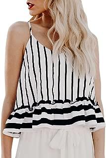 VESKRE Women's Summer Tank Tops Striped Ruffles V-Neck Vest Shirt Casual Blouse Camis