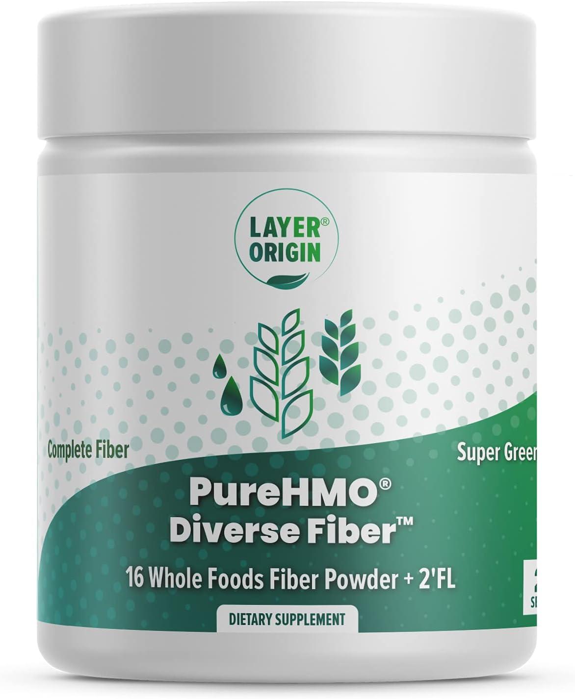 Layer Origin | PureHMO Diverse Fiber 16 Whole Foods Fiber Powder | Human Milk Oligosaccharide 2'-FL Prebiotic | Psyllium Husk, Chicory Root, Acacia Fiber, Apple Peel, Pea Fiber | 2'-Fucosyllactose