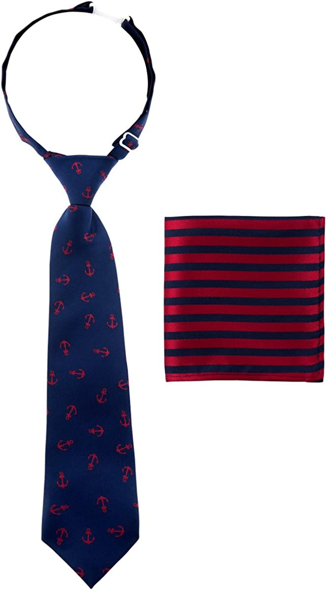 Canacana Classic Anchor Pre-tied Boy's Tie with Stripes Pocket Square Set