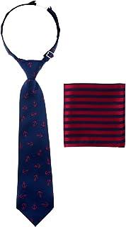 رابطة عنق للأولاد كلاسيكية ومربوطة مسبقًا مع جيب مقلم