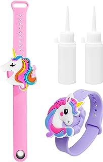2PCS Braccialetto Disinfettante per Mani in Silicone Unicorno con Bottiglia Riutilizzabile,Portatile Dispenser di Braccial...