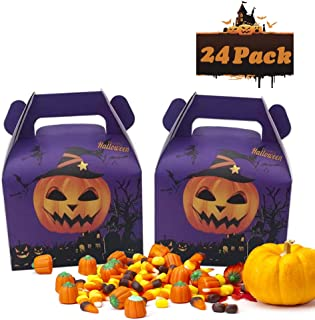 24pcs Halloween Favor Candy Boxes Pumpkin Treat Bags for Halloween Party Decorations Kids Birthday Party Supplies