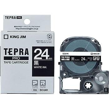 KING JIM 「テプラ」PROテープカートリッジ カラーラベル 黒 24mm SD24K