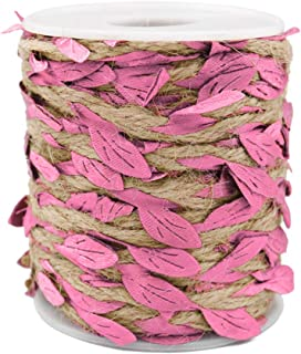 65 Feet Jute Burlap Vine Twine with Artificial Leaves Garland,5MM Natural Jute Twine for Jungle Vines Wedding Home Decor (Pink Leaves)