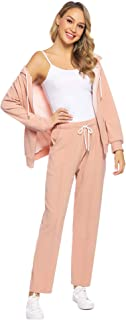 Women's Velour Sweatsuit Set Zip up Hoodie and Pants Sport Suits Tracksuits