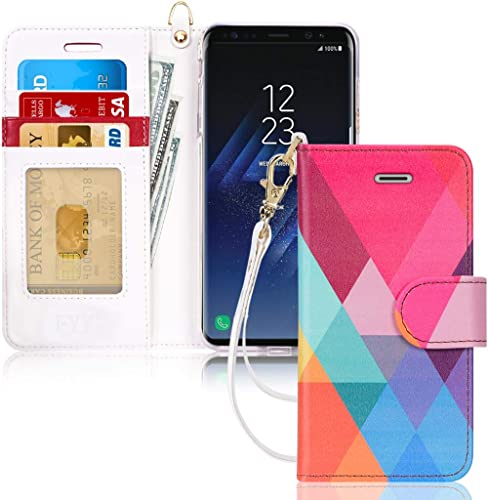 FYY Galaxy S8 Case,[RFID Blocking Wallet] 100% Handmade Wallet Case Stand Cover Credit Card Protector for Samsung Gal...