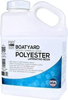BOATYARD Polyester Resin Laminating Resin, Fiberglass Cloth, Glassing, 1 Gallon w/MEKP Hardener, Clear Resin Fiberglass KIT, Boat Surfboard Building, Fiberglass Boat Repair KIT, Fiber Glass Resin