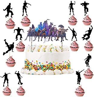 Verjaardag Feestartikelen voor Game Fans BESLIME 13 STKS Fortnite Cake Card, Bevat 12 stuks roterende charme Cake Inserts ...