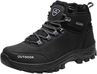 Men Solid High Top Sneakers, Male Summer High Climbing Boots Outdoor Breathable Non-Slip Hiking Shoes