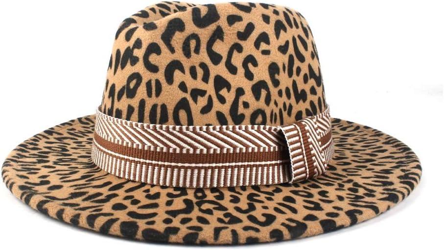 LIRRUI Top Hat Men's and Women's Fedora Top Jazz Wool Polyester Fedora Hat Fashion Striped Geometric Decorative Ribbon (Color : Khaki, Size : 56-58cm)
