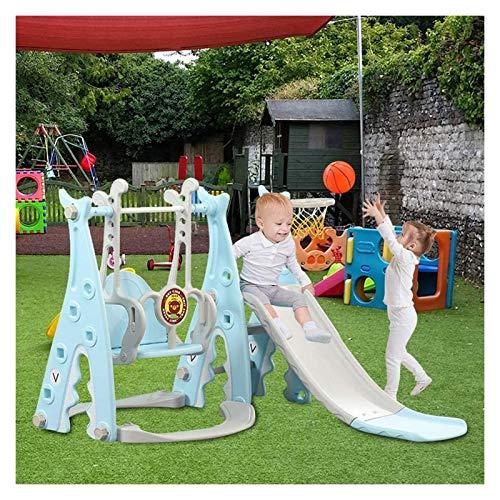 Muyuuu Juego de juguetes para escalar y columpio para niños pequeños, juego de toboganes deslizantes 3 en 1 para niños con aro de baloncesto extraíble, lanzamiento, escaleras de fácil escalada, área d