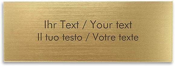 Naamplaatje met persoonlijke tekst, rechthoekig kunststof bord in goud-metallic - belbord, deurschild, gravureplaatje 125 ...