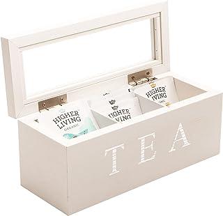 Cooper & Co. Homewares 3 Compartment Wood Tea Box, White