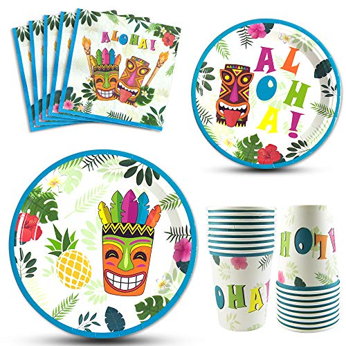 WERNNSAI Hawaiian Aloha Party Tableware Set - Luau Tropical Tiki Summer Pool Party Supplies for Birthday Disposable Dinner Dessert Plates Luncheon Napkins Paper Cups Serves 16 Guests 64PCS