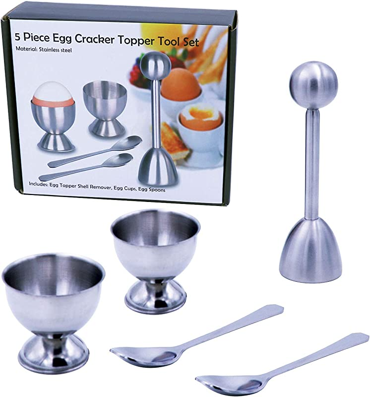 DodoBee Egg Cups Cracker Topper Set Egg Cups For Soft Boiled Eggs Egg Cracker Topper Separator Tool Egg Holder For Soft Boiled Eggs Soft Boiled Egg Holder Include 2 Cups 2 Spoons 1 Topper