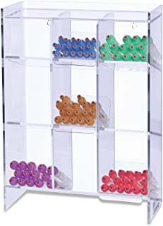 """Clearform ML7100 Clear Acrylic Tube Rack with 9 Compartments, 16"""" H x 12"""" W x 5.5"""" D"""