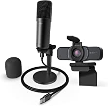 Amcrest 1080P Webcam with Privacy Cover & Omnidirectional Microphone, Web Cam USB Camera, Computer HD Streaming Webcam for...