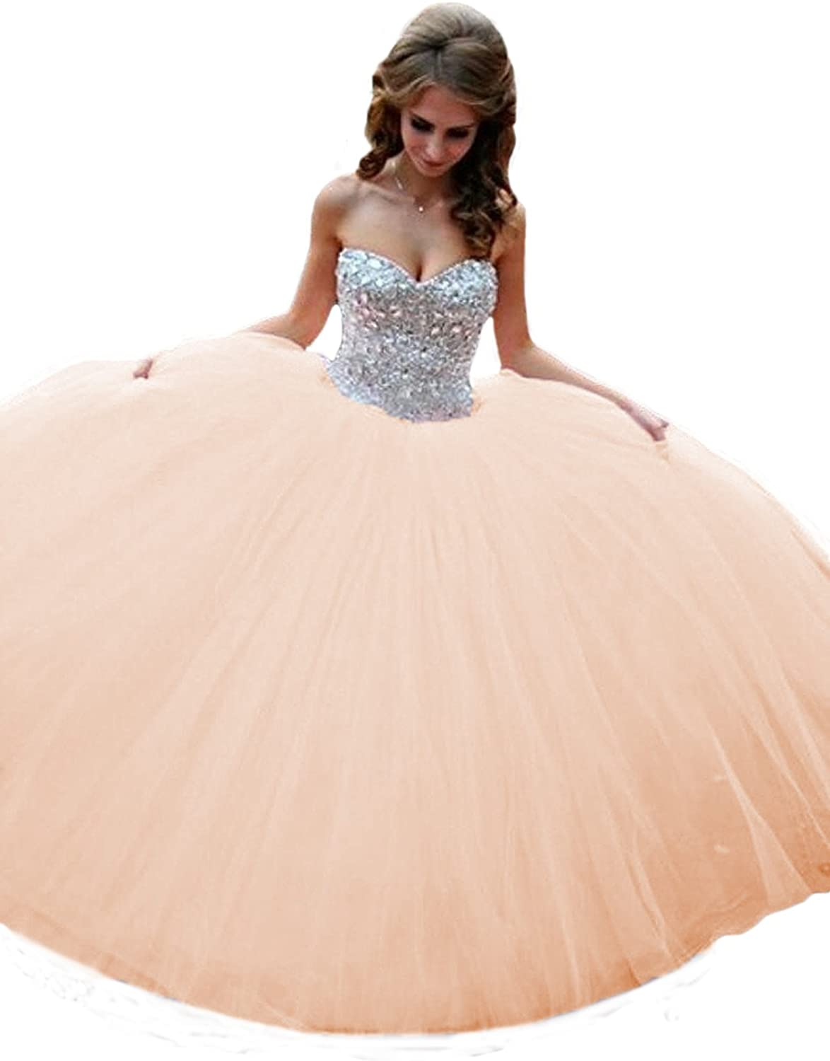 Kaitaijidian Women's Sweetheart Long Quinceanera Dresses Beaded Tulle Ball Gown Prom Dresses 647