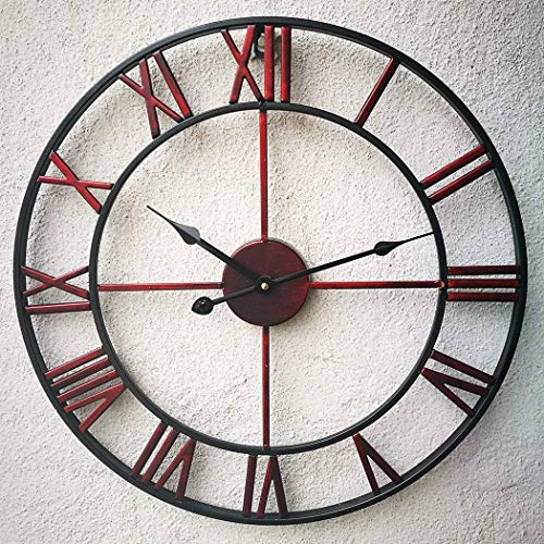 ClocksRed Cijfer Wall Clock, Euran Retro Handgemaakte Industrial Decor3D metalen klok Non-Ticking for Kitchen Room Cafe Restaurant Decor alarm clock (Size : 60CM)