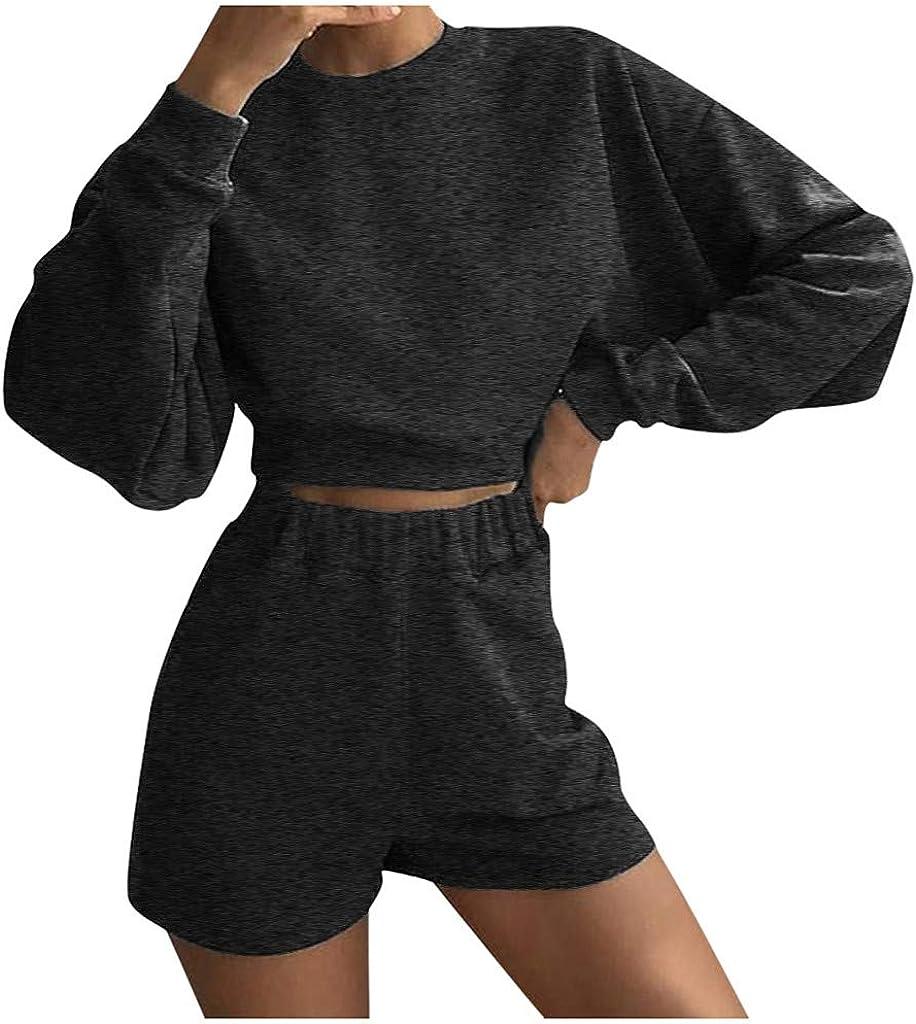 Winwintom-2020 Mujer Oto/ño Casual Corto Traje de Mujer Sudadera Moda Ropa de hogar Top de Manga Larga Pantal/ón Corto
