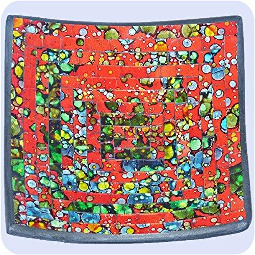 Simandra Mosaikschale Tonschale Glasschale Dekoschale Mosaik Kunsthandwerk Glassteine Deko Quadrat bunt mittel Color Rot