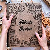 MULTIFUNCTIONAL: Keep all of your special recipes and notes in one place! This wonderful wooden cookbook can also be used as a writing journal, sketchbook, photo album, wedding album, guest book, wish book, diary, planner, keepsake book, adventure jo...