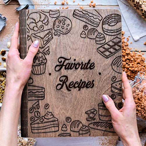 Wooden Blank Recipe Book Binder - Personalized Recipe Notebook - Family Cookbook Journal Custom Sketchbook To Write In Organizer by Enjoy The Wood