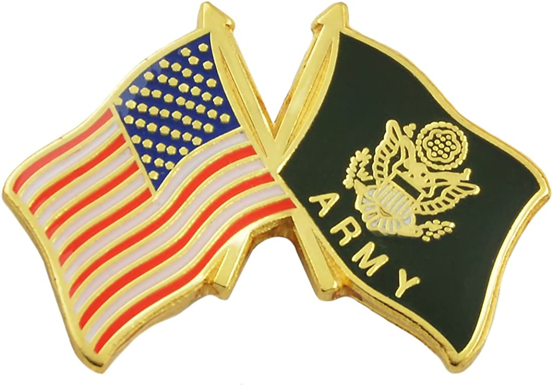 The Masonic Exchange American Flag & Army Flag Lapel Pin - [Red & Black][1'' Wide]