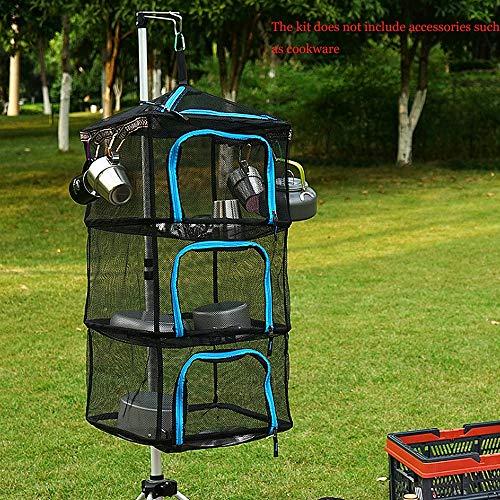 TSSM Opknoping Drogen Net,Outdoor 4 Laag Vouwpakket met Rits Multi-Functie Ontvang Mand Bestek Fruit En Groenten voor Camping Vissen Wilde Barbecue