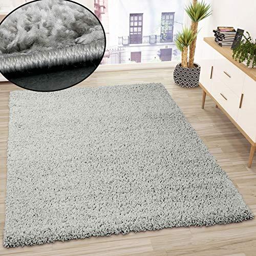 VIMODA Prime Shaggy Teppich Grau Hochflor Langflor Teppiche Modern, Maße:70x140 cm