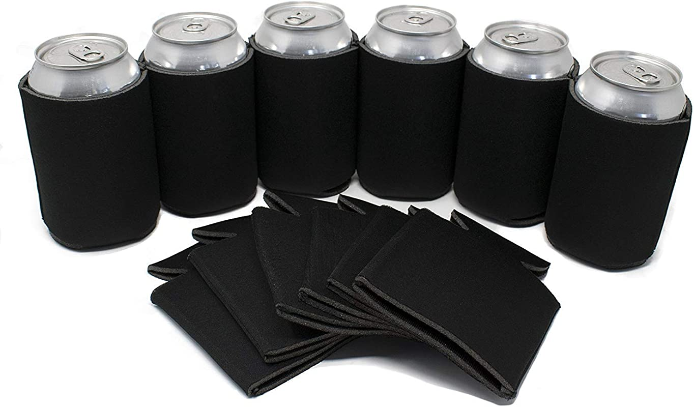 Tahoebay 25 Can Sleeves For Standard Cans Blank Poly Foam Beer Insulator Coolers Black 25