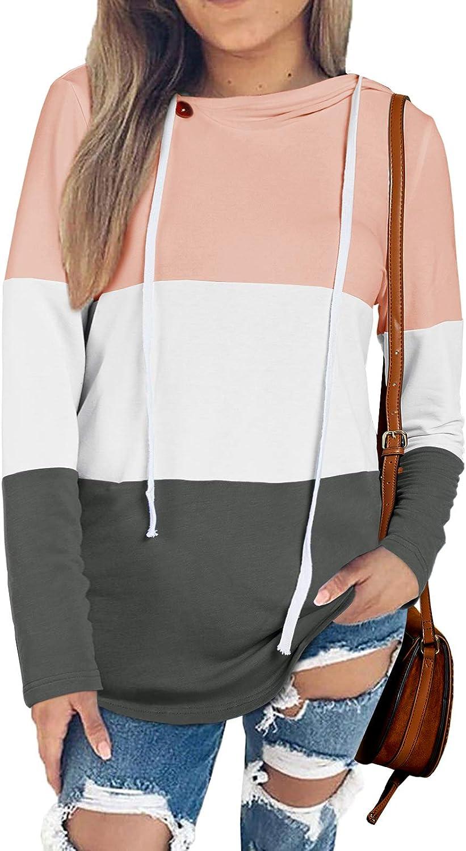 Farktop Womens Color Block Drawstring Hoodies Cowl Neck Long Sleeve Oblique Button Casual Hooded Sweatshirts