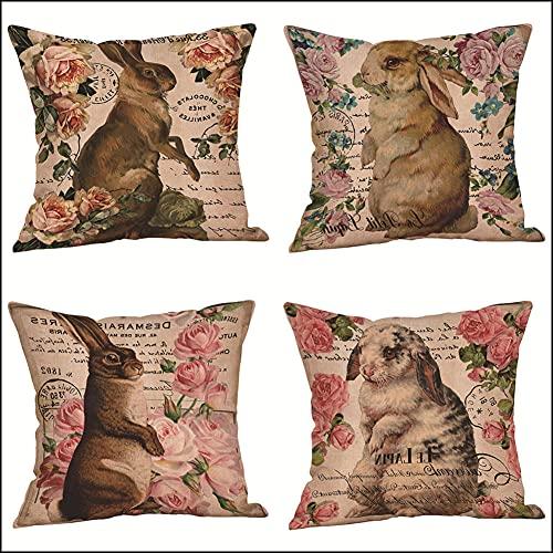 4 Pack Funda de Cojín, 55x55cm/22x22in Animal conejo Algodón Lino Cuadrada Funda de Almohada para Cojín,con Cremallera Invisible Cushion Cover,para Living Room Bed Sofa, Fundas Cojines Decorativa L176