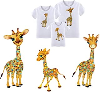 Giraffe Iron On Stickers Heat Transfer Patches with Family Motif Badges Appliques Design Cute Animals Patches for Father,Mother,Kids Clothing(3 PCS)