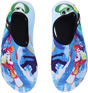 Flyme Quick Dry Children Beach Water Shoes Summer Soft Breathable Anti-Slip Swimming Surfing Diving Socks Kids Sneakers(Skiing Man 36/37) Gold