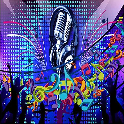 Wongxl Wallpaper 3D-Mikrofon Singen Klassische Musik Tanzen Disco Diskothek Ktv Bar Kunst Wandbild Wandbilder 3D Wall Papers Home Decor 3D Tapeten Fresko Wandmalerei Mural Wallpaper 120cmX100cm