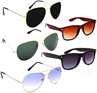 Dervin UV Protection Aviator and Rectangular Unisex Sunglasses - Combo of 5 (Multi Color)