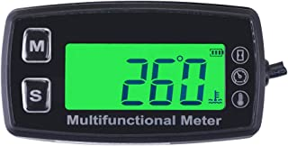 Runleader RL-HM035T -20-300 Inductive Tachometer with Hour Meter Thermometer Backlit Display for All Gasoline Engine ATV Utv Dirtbike Motobike Motocycle Snowmobile PWC Marine Boat Waterproof TS002