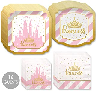 Little Princess Crown with Gold Foil - Pink and Gold Princess Baby Shower or Birthday Party Tableware Plates and Napkins - Bundle for 16