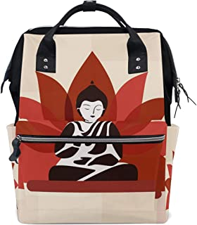 Buddha Statue with Lotus Diaper Bags Nappy Backpacks Mummy Backpack Travel Laptop Daypack