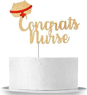 KatchOn Congrats Nurse Cake Topper, Rose Gold - Real Glitter, Large Size   Nurse Graduation Party Decorations   Nursing Graduation Party Supplies 2019   RN Nurse Party Decorations   Nurse Theme Party