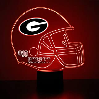 Mirror Magic Georgia Bulldogs Light Up LED Lamp - Football Helmet Night Light for Bedroom with Free Personalization - Features Licensed Decal and Remote