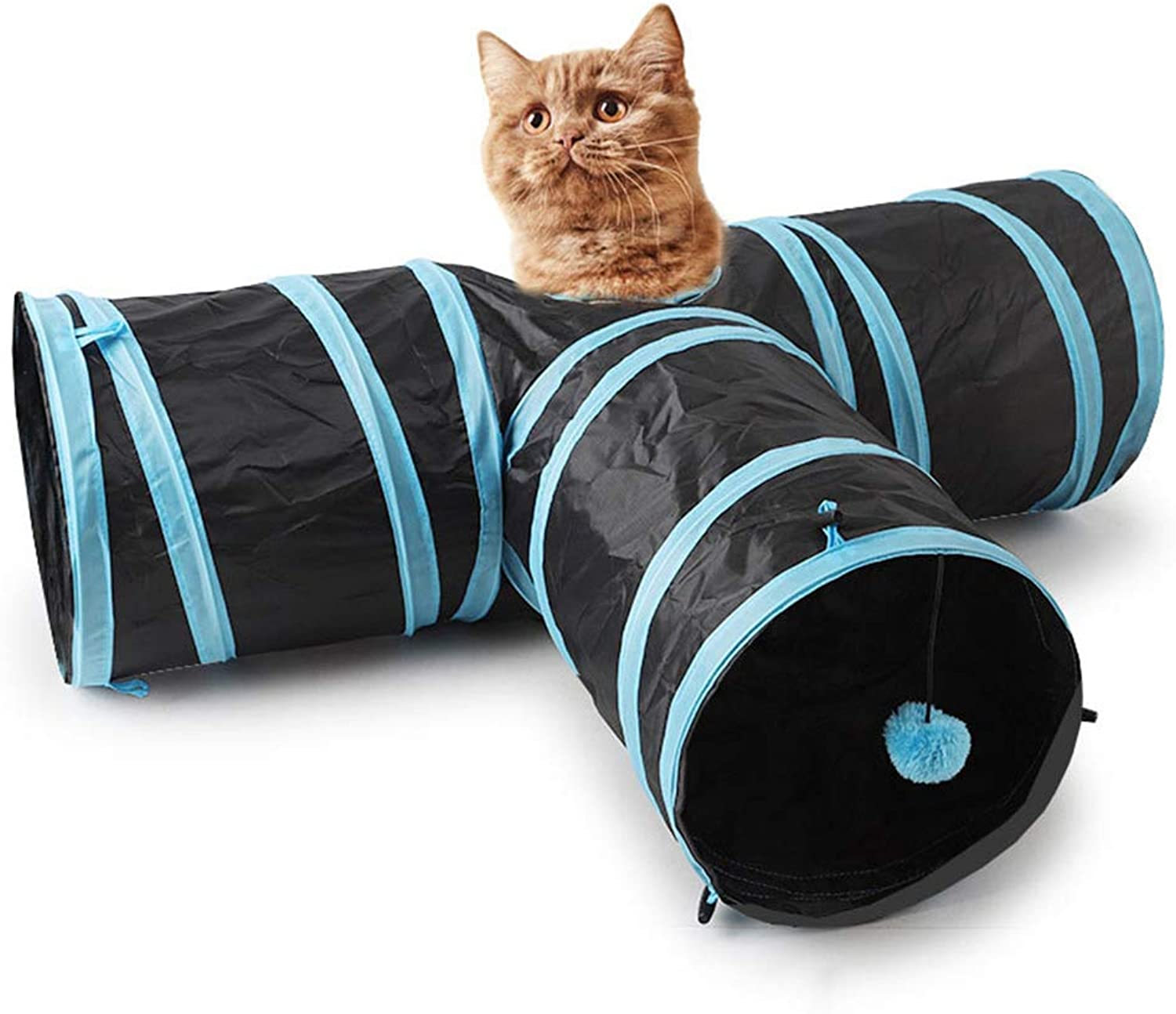 Pet Cat Tunnel  Cat Toy,Pet Exercise Play Tunnel with,Collapsible 3 Way Play Toy Kitten Indoor Outdoor Toys