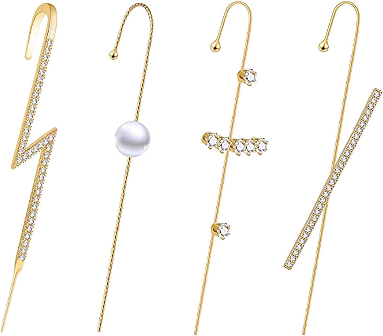 4PCS Gold Plated Ear Wrap Climber Crawler Hook Earrings Cubic Zirconia Ear Wraps Earring