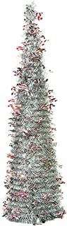 FunPa 4.92FT Collapsible Sequin Tinsel Christmas Tree Artificial Xmas Tree Party Decor for Small Spaces Xmas Party Home Apartment Fireplace Office Store Xmas Decorations
