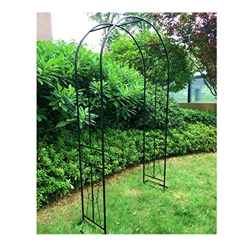 CPPI-1 Large 2.4m Black Metal Garden Arch Heavy Duty Strong Tubular Arbor,for Roses Climbing Plants Support Archway Garden