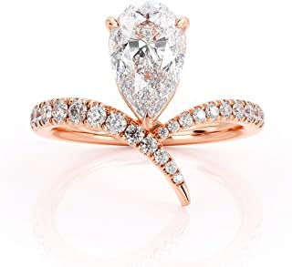 Keyzar Engagement Rings for Women, Handmade Vintage Chevron Pear Shaped Moissanite, Diamonds Pave, 14k or 18k Rose Gold, V Curved Wedding Promise Ring for Her with Box (1.8ct, D-F Color, VVS1 Clarity)