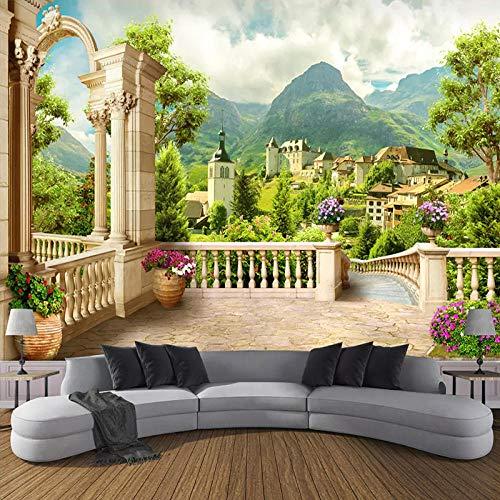XLXBH Fotobehang, zelfklevend, met 3D-papier, fotobehang voor wandschilderingen, romana, balkon, landschap, natuur 200x140 cm (LxA) 4 strisce - autoadesive