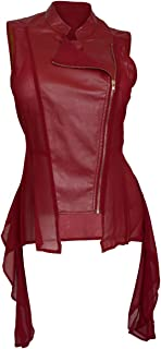 eVogues Women's Sleeveless Sheer and Faux Leather Panel Fashion Vest Jacket