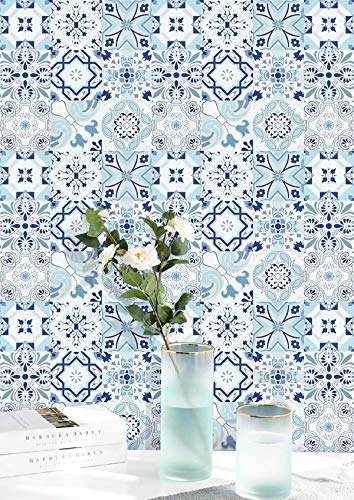 Dimoon 17.7''x118'' Floral Contact Paper Thicken for Kitchen White Blue Wallpaper Flower Peel and Stick Wallpaper Removable White Blue Tile Wall Paper Waterproof Embossed Self Adhesive Liner Vinyl